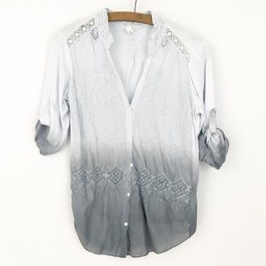 Anthropologie TINY Gray Blue Ombre Embroidered Top